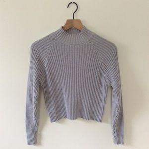 Grey Ribbed Mock Turtleneck Sweater Forever 21